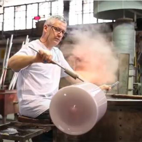 In the Vistosi Glass Blowing studio with Trepai
